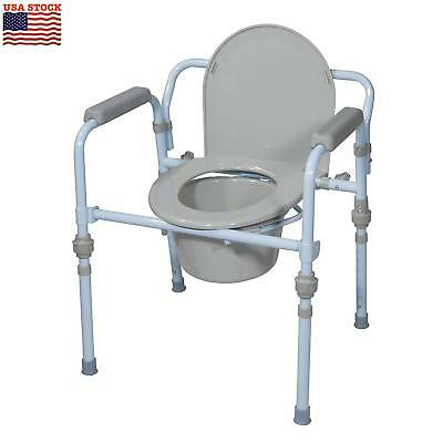Folding Bedside Commode Seat with Commode Bucket and Splash Guard Portable New