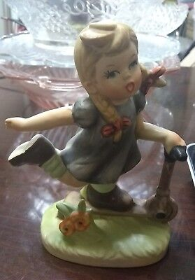 Vintage Napco Girl Figurine Riding Scooter