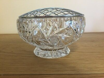 Lovely Cut Glass And Wire Rose Bowl / Vase