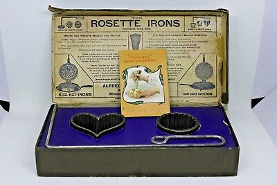 Vintage Antique ALFRED ANDRESEN & CO Cast Iron Rosette Patty Irons Boxed Set