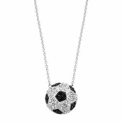 Crystaluxe Soccer Football Team Pendant w/ Swarovski Crystals in Sterling Silver