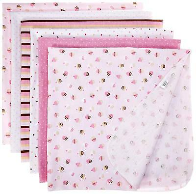 Luvable Friends Flannel Receiving Blankets, Pink, 6 Count