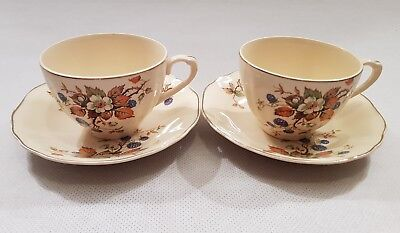 JG Meakin Tea Coffee Cup Saucer Pair Vintage Kitsch Floral Cottage 1940s 1950s