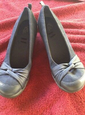 a394a6c636d EASY SPIRIT E360 Low Wedge Fabric Shoe Navy Size 11W -  17.99