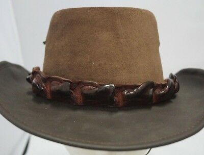 Genuine Aus Crocodile Leather HAT BAND Thick Brown Australia Made Golden Buckle