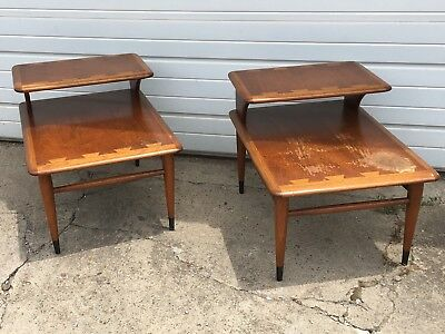 Vintage pair of 2 Tiered LANE mid century danish modern 60s wood side end tables
