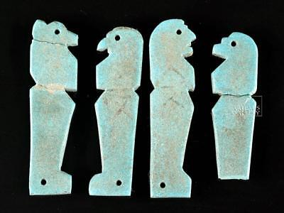Egyptian Faience Amulets - 4 Sons of Horus Lot 7
