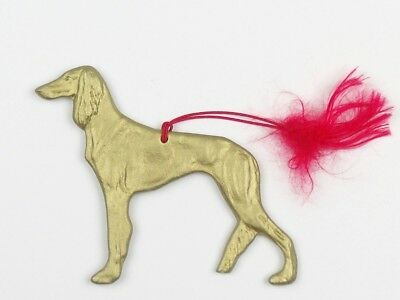 SALUKI Dog CHRISTMAS ORNAMENT Gold Painted Silhouette DANNYQUEST