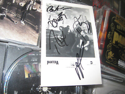 Pantera Autograph Full Band Signed Ew Records Promotional Photo Postcard Metal
