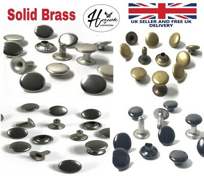 SOLID BRASS SINGLE & DOUBLE CAP RIVETS LEATHER CRAFT STUD RAPID 9X8 9X12mm H/Q