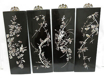 4 Chinese Black Lacquer/InLaid Mother of Pearl Four Seasons Wall Plaques, Panels