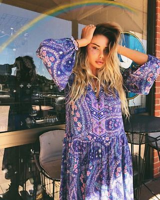 Spell and The Gypsy Collective City Lights Gown in Indigo M BNWT