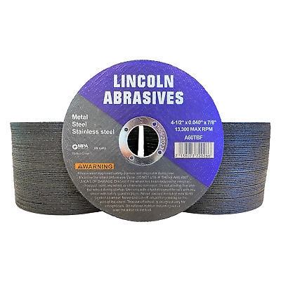 """100 Pack 4-1/2"""" .040"""" Cut-off Wheel 4.5 Cutting Discs Stainless Steel & Metal"""