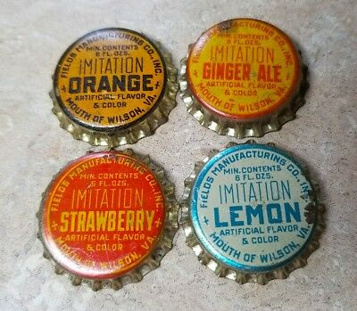 Vintage Set of 4 BOTTLE CAPS Fields Manuf. Mouth of Wilson Virginia VA - Cork
