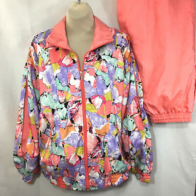 Vtg 90s LAVON Womens Track Suit Pink Abstract Jogger Windbreaker L Jacket M Pant