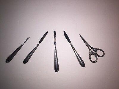 Antique Vintage .800 Silver Manicure Set , Five Pieces Not Sterling Bead Beaded
