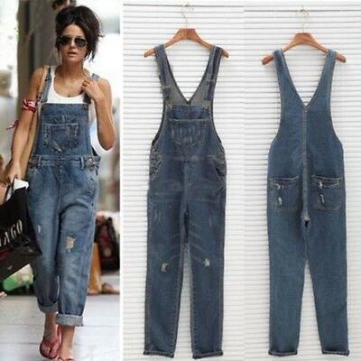Women Baggy One-Piece Jumpsuits Overalls Denim Jeans Bib Trousers Long Pants