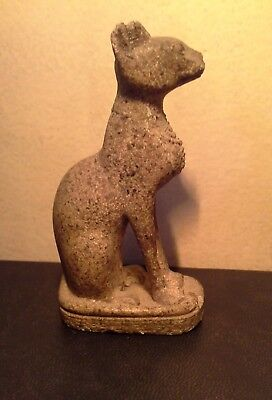 Rare Antique Ancient Egyptian god Bastet stone statue