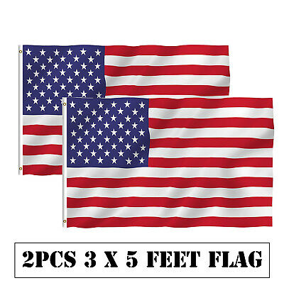 2Pcs 3x5 FT American Flag with Grommets USA United States of America US Flag