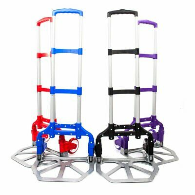 Folding Cart Dolly Push Luggage Hand Truck Collapsible Trolley W/ Wheel Aluminum