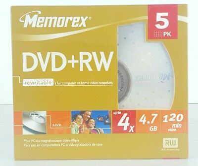 NEW SEALED Memorex DVD+RW 4X |4.7GB 120 minute 5 Pack Re-writable Data Media D2