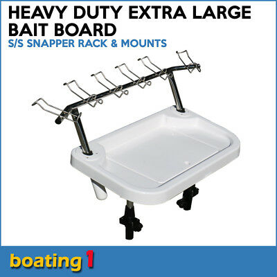 Heavy Duty Extra Large Bait Board, S/S Snapper Rack, Lock-fast Mounting Legs