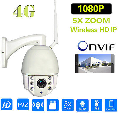 HD 1080P 4G SIM Wifi Camera PTZ 5X Zoom Outdoor Speed Dome Wireless IR 50M P2P
