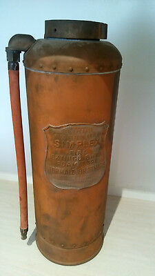 Vintage Simplex Fire Extinguisher and 2 Hose Nozzles in Brass and Copper
