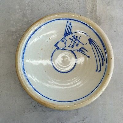 Ian Jones Laughing Frog Pottery Bowl 1980s Fish Australian Woodfired Ceramics