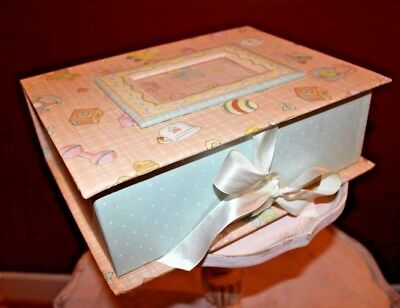Baby Keepsake Chest Box w/ Photo Frame For Babies Girls Ribbon Closure