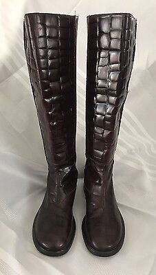 7677518c9df NWOB DKNY Brown Knee High Tall Leather Croc Textured Shaft Boots Size 7 M