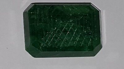 Big 105ct Natural Brazilian Emerald carved octagon 34 x 24 x 17mm