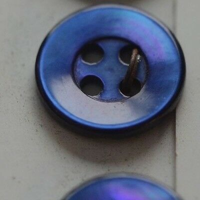 """12 Mother Of Pearl Mop Blue Shirt Buttons 1/2"""" Nos On Cards Quantity Discount"""
