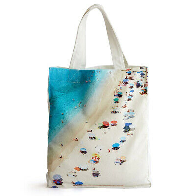 NEW Med Blue Tropea Centro Beach Canvas Tote Bag