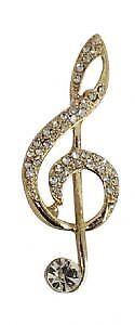 1950s style Gold or Silver tone Rhinestone Clef Note Brooch