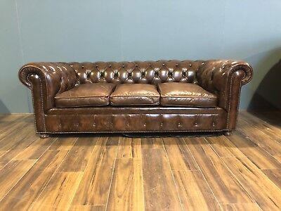 A Very Good Vintage Coil Sprung Leather Chesterfield Sofa - American Embassy
