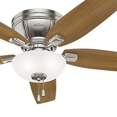 Hunter 52 In Low Profile Ceiling Fan With Led Bowl Light Kit Brushed Nickel 91 85 Picclick
