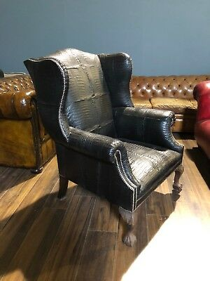 Signature - Our Disraeli Chesterfield Wing Back Chair in Real Crocodile Skin