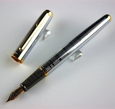 classic Executive Golden and Silver F Bib Fountain Pen Stationery