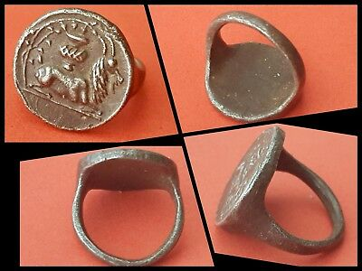 Ancient Rare Roman Silver Ring Mythological Goat C 2nd 3rd Cenr AD
