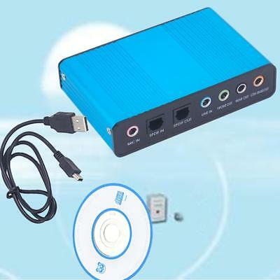 USB External 6 Channel 5.1 SPDIF Optical Sound Card Audio For Laptop PC Netbook
