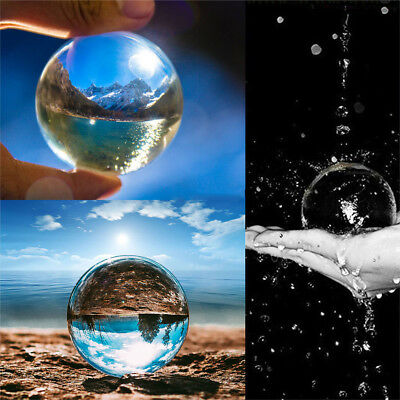 Glass Crystal Ball Clear Photography Healing Sphere Props Gifts Toy 50/80mm US