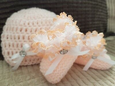 Baby Girls Hand Knit / Crochet Hat & Booties - Lace- Bow - Peach Eb - 3-6 Months