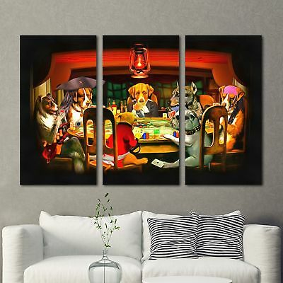 Dogs Playing Poker Painting 3PCS HD Canvas Print Home Decor Room Wall Art Pictur