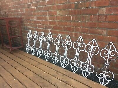 """Set Of 9 Original Wrought Iron Balusters/ Balustrade Archetectural Salvage 30"""""""