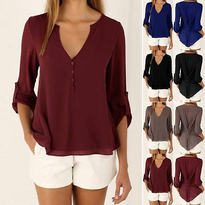 Women's Ladies Summer Loose Chiffon Tops Long Sleeve Shirt Casual Blouse