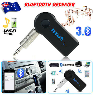 Wireless Bluetooth 3.5mm AUX Audio Stereo Music Home Car Receiver Adapter Mic tp
