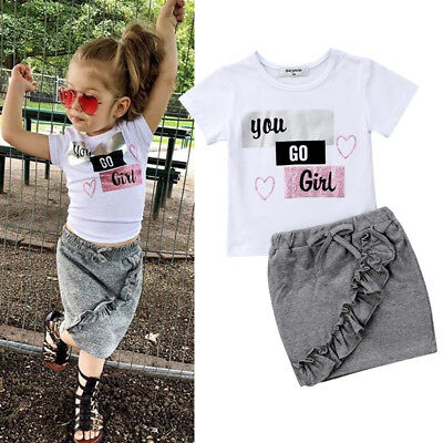 Sweet Baby Girls Toddler Clothes Summer t-shirt Tops+Skirts 2PCS Outfits Set