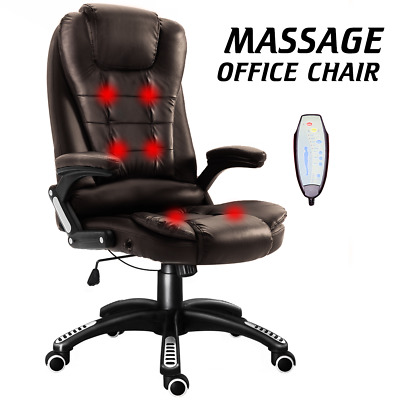 6 Point Heated Massage Home Office Chair Gaming Computer Swivel Recline Rocking