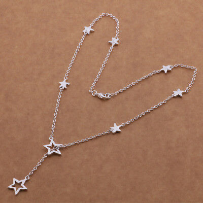 925 Sterling Silver Plated Star Necklace + Free Gift Bag.